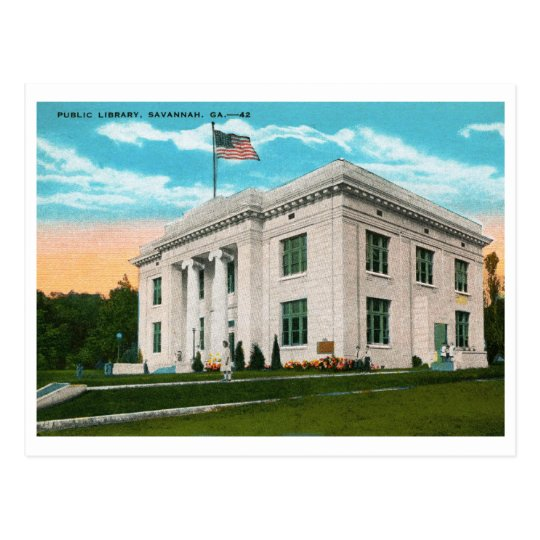 Library, Savannah, GA Vintage Postcard