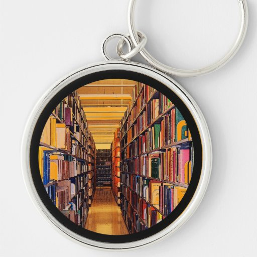 Library Stacks Silver-Colored Round Keychain