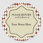 Library Vintage Pattern Sticker - Please Return