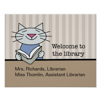 Library Welcome with Librarian Names Poster