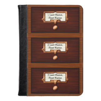 Library Wood Card Catalog Drawers Reading Custom Kindle Case