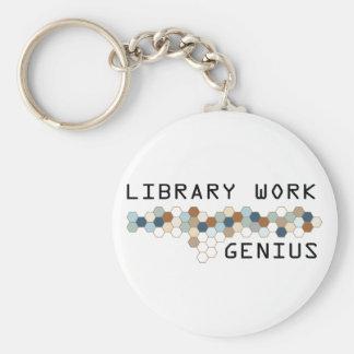 Library Work Genius Basic Round Button Keychain