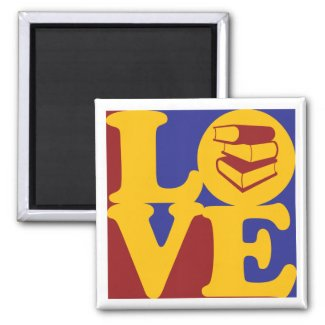 Library Work Love 2 Inch Square Magnet