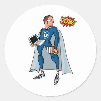 Libraryman with POW! Classic Round Sticker