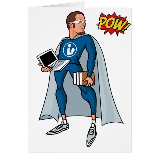 Libraryman with POW! Greeting Cards