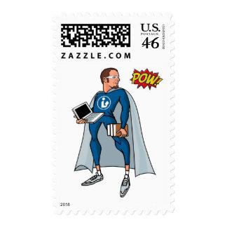 Libraryman with POW! Postage Stamp