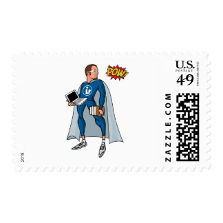Libraryman with POW! Postage Stamps