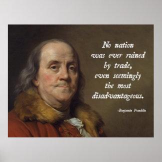 Libre cambio de Benjamin Franklin Póster