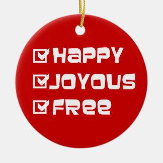 Libre feliz feliz adorno navideño redondo de cerámica