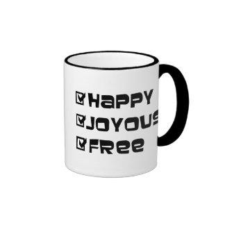 Libre feliz feliz taza de dos colores