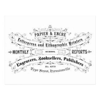 libreros del anuncio de la tipografía del vintage postal