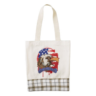 Libres vivos calvos de Eagle de la bandera Bolsa Tote Zazzle HEART