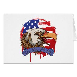 Libres vivos calvos de Eagle de la bandera Tarjeta De Felicitación