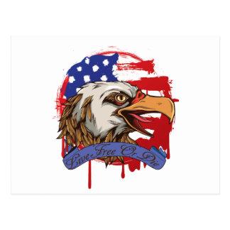 Libres vivos calvos de Eagle de la bandera Tarjetas Postales