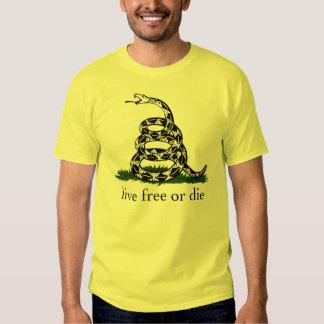 Libres vivos de la bandera de Gadsden o mueren Camisas