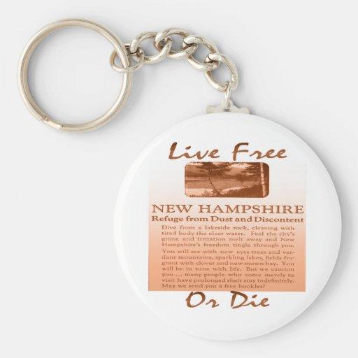 Libres vivos de New Hampshire o mueren pardusco Llavero Redondo Tipo Pin