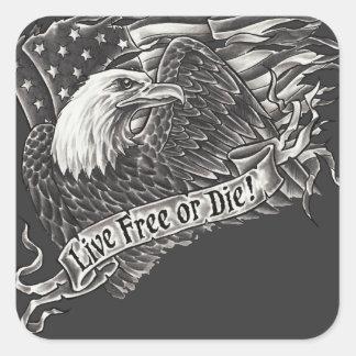 Libres vivos o mueren Eagle Pegatina Cuadrada
