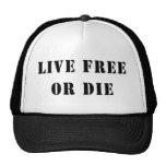 Libres vivos o mueren gorros bordados