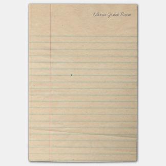 Libreta alineada personalizada del papel del post-it notas