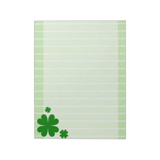 libreta alineada trébol de cuatro hojas bloc de papel