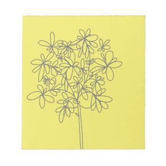 Libreta amarilla de la flor bloc de notas