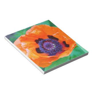 Libreta anaranjada de la flor de la amapola bloc de notas