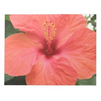 Libreta anaranjada de la macro de la flor del hibi blocs de notas