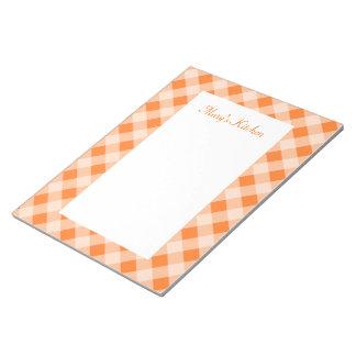 Libreta anaranjada personalizada de la guinga blocs de notas