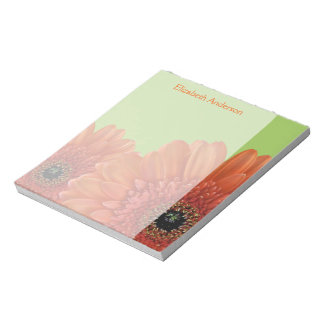 Libreta anaranjada personalizada del verde de la m libreta para notas