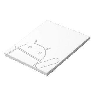 Libreta androide que agita bloc de notas