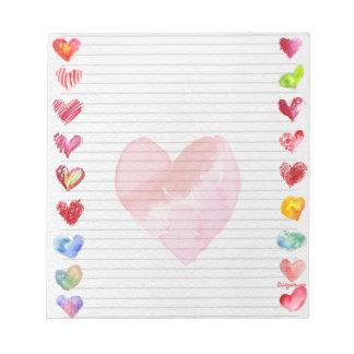 Libreta artsy multicolora de los corazones del amo libreta para notas