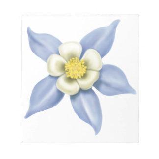 Libreta azul de la flor de Colorado Columbine Bloc De Notas