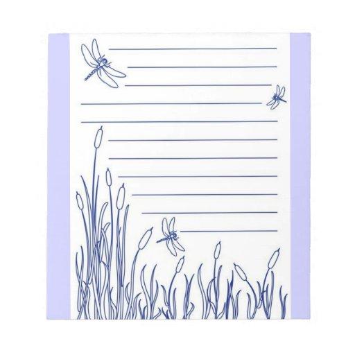 libreta azul de las libélulas libreta para notas