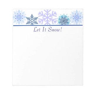 Libreta azul y blanca de encargo del copo de nieve bloc de notas