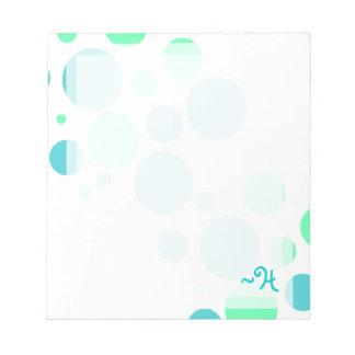 Libreta azul y verde de encargo del monograma de l libretas para notas