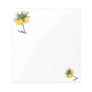 Libreta botánica amarilla de la flor de Redoute Bloc De Notas