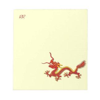 Libreta china de la nota del dragón del rojo y del libretas para notas