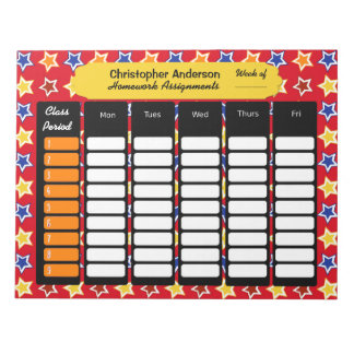 Libreta colorida de la asignación de la libretas para notas