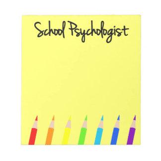 Libreta colorida del psicólogo de la escuela bloc