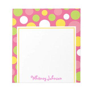 Libreta colorida rosada del lunar blocs de notas