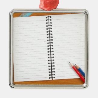 Libreta con efectos de escritorio adorno navideño cuadrado de metal