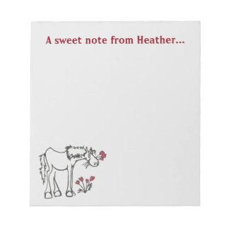 Libreta de encargo del caballo de la tarjeta del blocs de papel