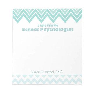 Libreta de encargo del psicólogo de la escuela de bloc de notas