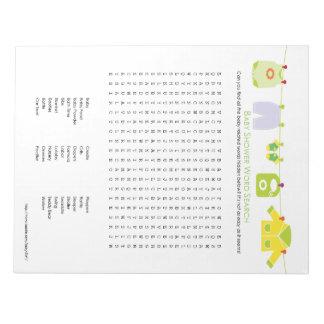 Libreta de la búsqueda de la palabra del juego de  blocs de notas