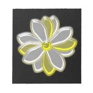 Libreta de la flor de la margarita que brilla inte libretas para notas