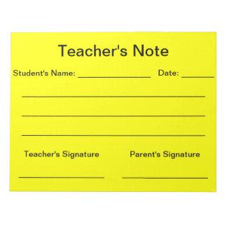 Libreta de la nota del profesor (amarillo) blocs