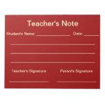 Libreta de la nota del profesor (roja) libretas para notas