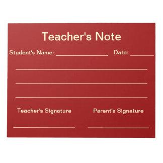 Libreta de la nota del profesor (roja) blocs de notas
