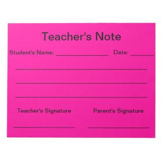 Libreta de la nota del profesor (rosa brillante) libreta para notas
