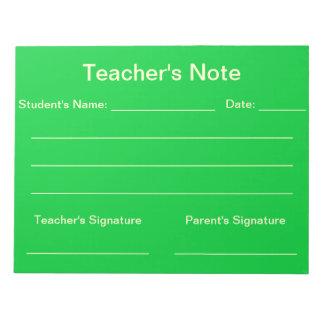 Libreta de la nota del profesor (verde) bloc de papel
